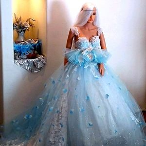 SERENITY Blue & White Petal Wedding Ballgown Set